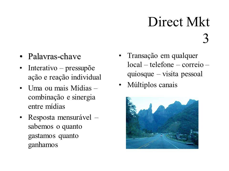 Direct Mkt 3 Palavras-chavePalavras-chave Interativo – pressupõe ação e reação individual Uma ou mais Mídias – combinação e sinergia entre mídias Resp