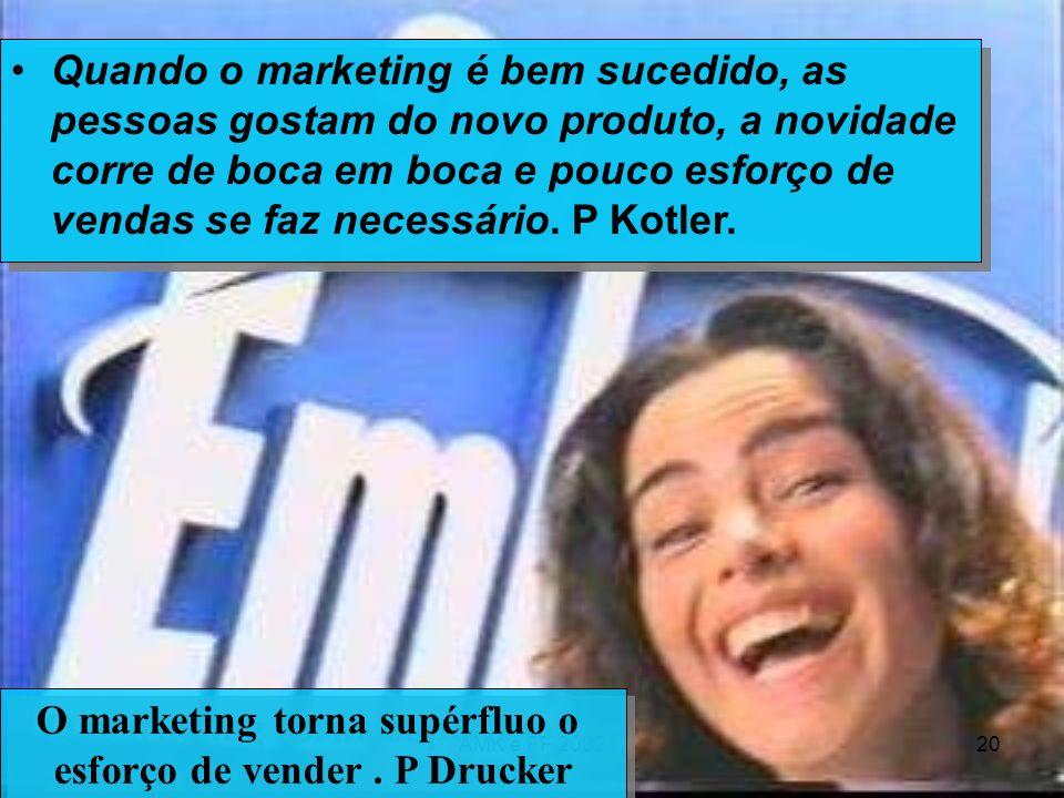AMK e FF 200220 Quando o marketing é bem sucedido, as pessoas gostam do novo produto, a novidade corre de boca em boca e pouco esforço de vendas se fa
