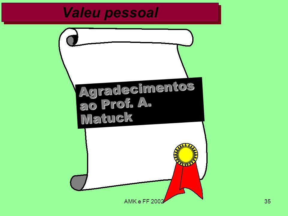AMK e FF 200235 Valeu pessoal Agradecimentos ao Prof. A. Matuck