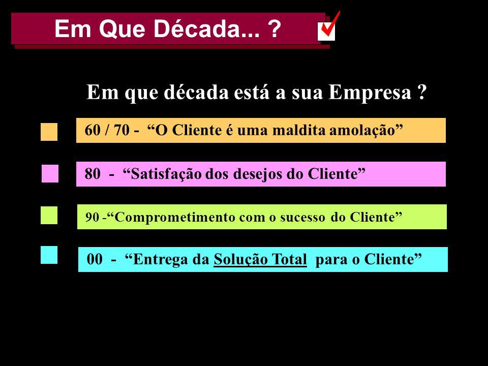 AMK e FF 20024 Em Que Década... ? 60 / 70 - O Cliente é uma maldita amolação 80 - Satisfação dos desejos do Cliente 90 - Comprometimento com o sucesso