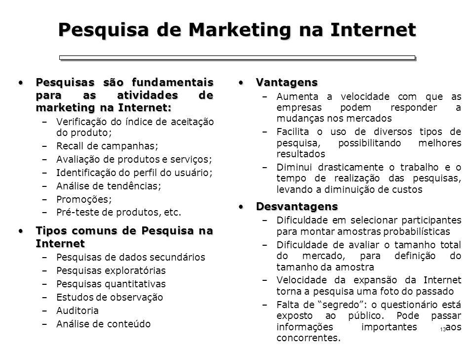 13 Pesquisa de Marketing na Internet Pesquisas são fundamentais para as atividades de marketing na Internet:Pesquisas são fundamentais para as ativida