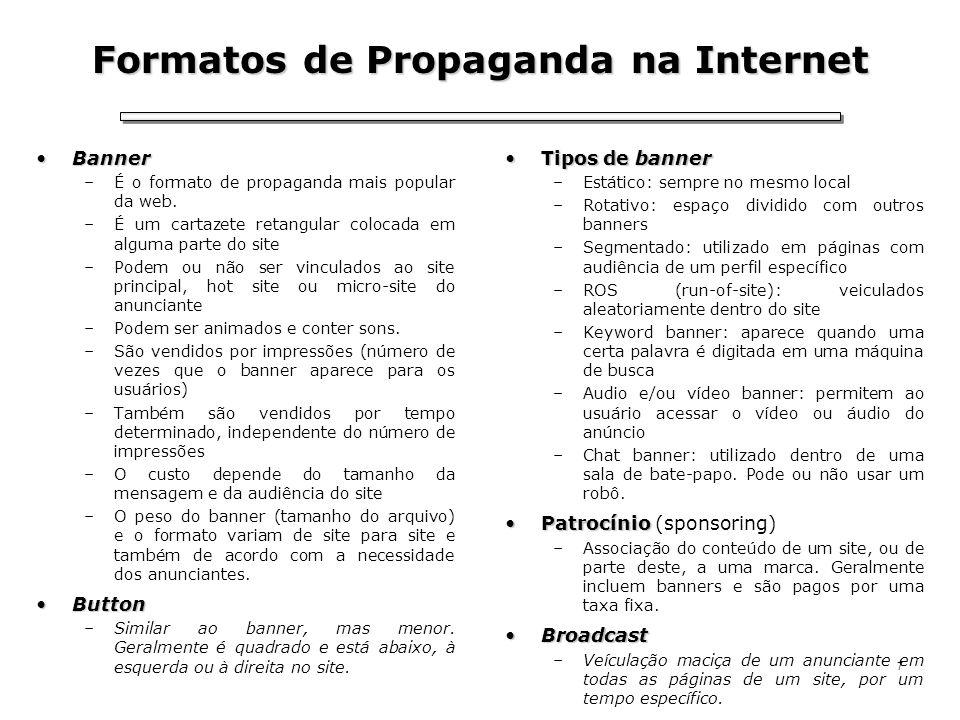 7 Formatos de Propaganda na Internet BannerBanner –É o formato de propaganda mais popular da web. –É um cartazete retangular colocada em alguma parte