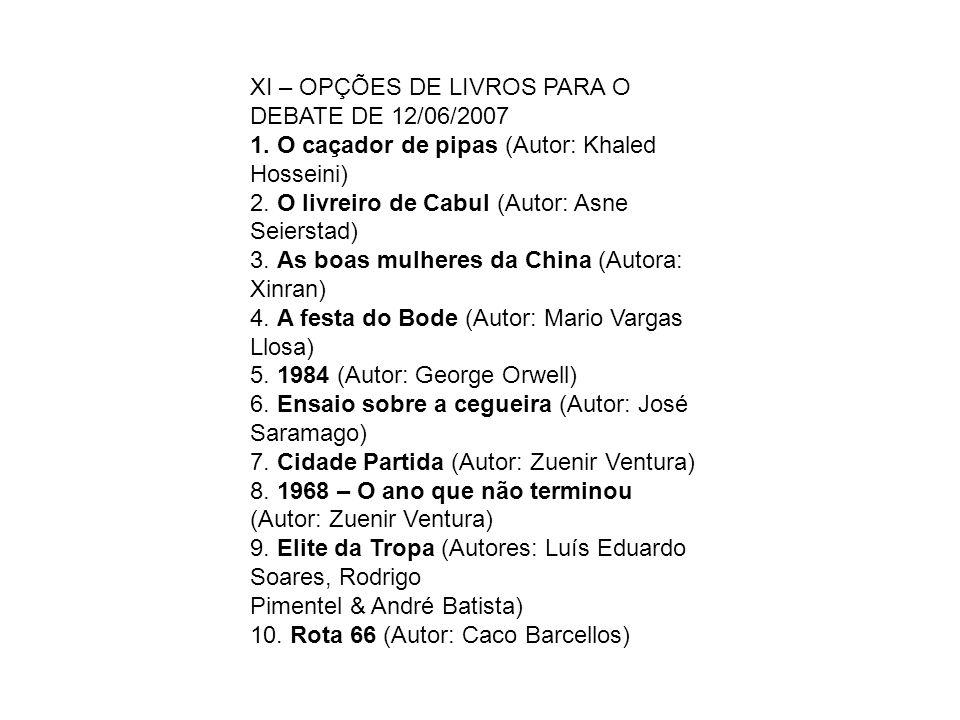 XI – OPÇÕES DE LIVROS PARA O DEBATE DE 12/06/2007 1.