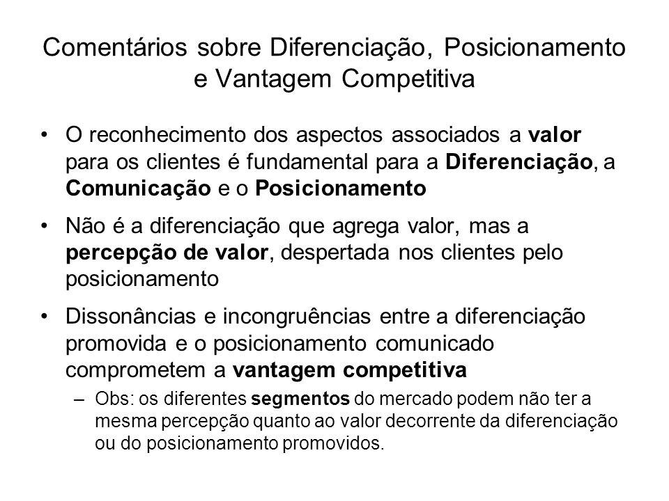 Comentários sobre Diferenciação, Posicionamento e Vantagem Competitiva O reconhecimento dos aspectos associados a valor para os clientes é fundamental