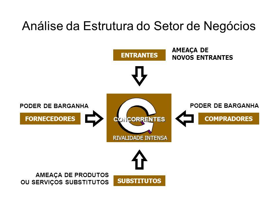 Análise da Estrutura do Setor de Negócios AMEAÇA DE PRODUTOS OU SERVIÇOS SUBSTITUTOS AMEAÇA DE NOVOS ENTRANTES COMPRADORESFORNECEDORES RIVALIDADE INTE