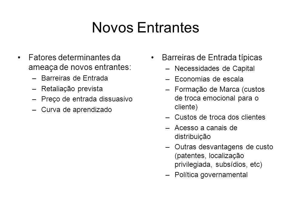 Novos Entrantes Fatores determinantes da ameaça de novos entrantes: –Barreiras de Entrada –Retaliação prevista –Preço de entrada dissuasivo –Curva de