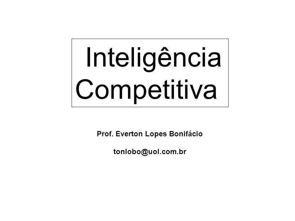 Prof. Everton Lopes Bonifácio tonlobo@uol.com.br Inteligência Competitiva