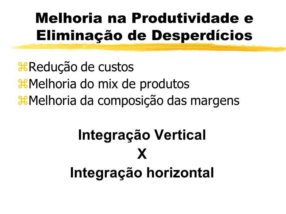 Melhoria na Produtividade e Eliminação de Desperdícios zRedução de custos zMelhoria do mix de produtos zMelhoria da composição das margens Integração