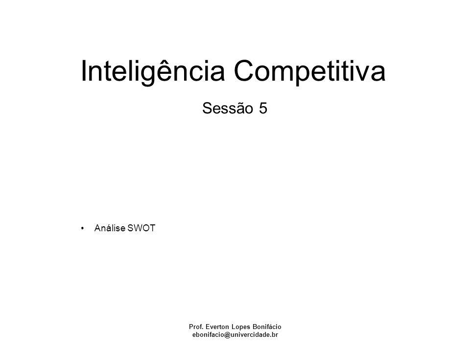 Inteligência Competitiva Prof. Everton Lopes Bonifácio ebonifacio@univercidade.br Sessão 5 Análise SWOT