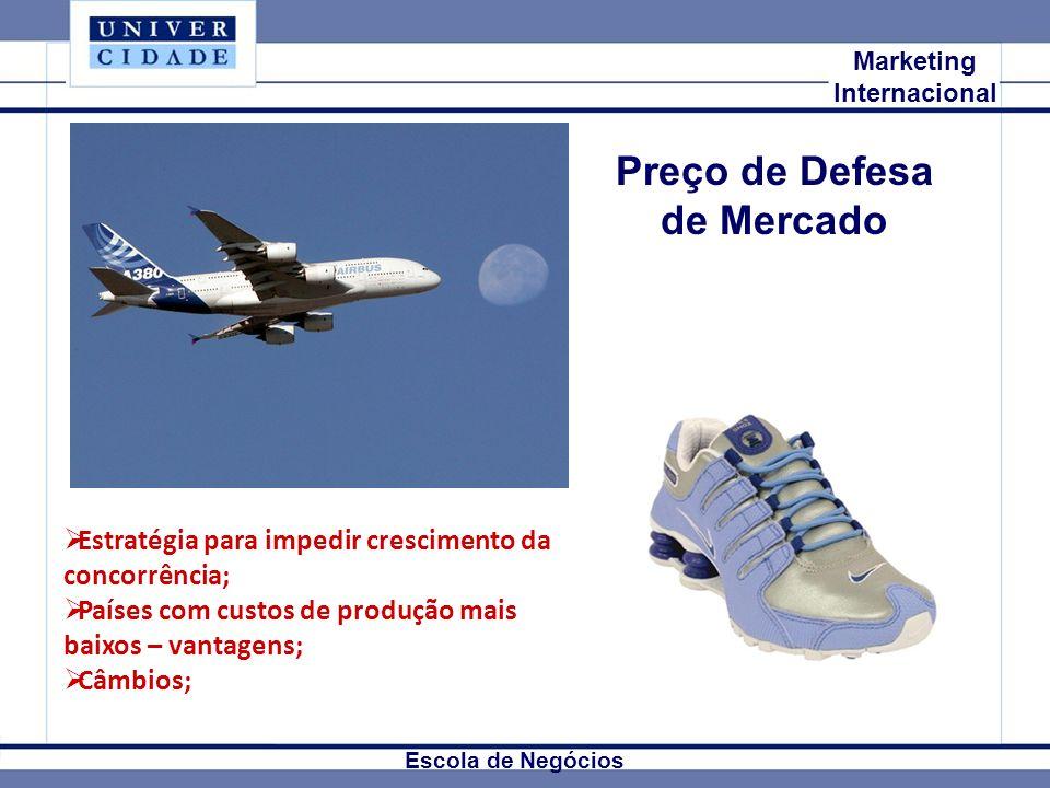 Mkt Internacional Marketing Internacional Escola de Negócios Preço de Defesa de Mercado Estratégia para impedir crescimento da concorrência; Países co
