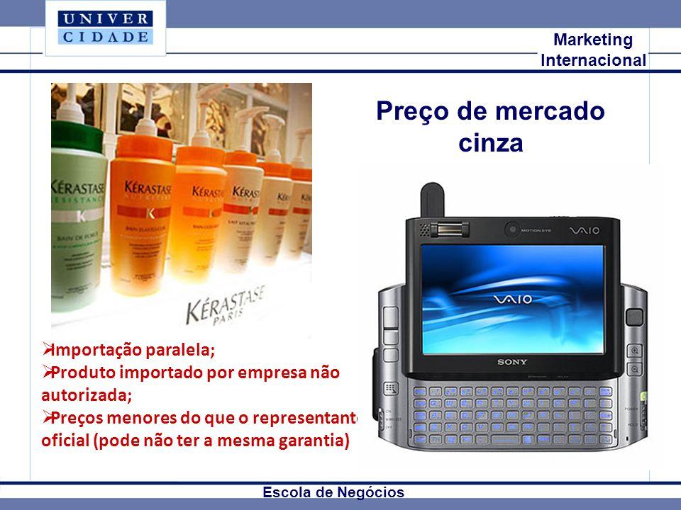 Mkt Internacional Marketing Internacional Escola de Negócios Preço de mercado cinza Importação paralela; Produto importado por empresa não autorizada;