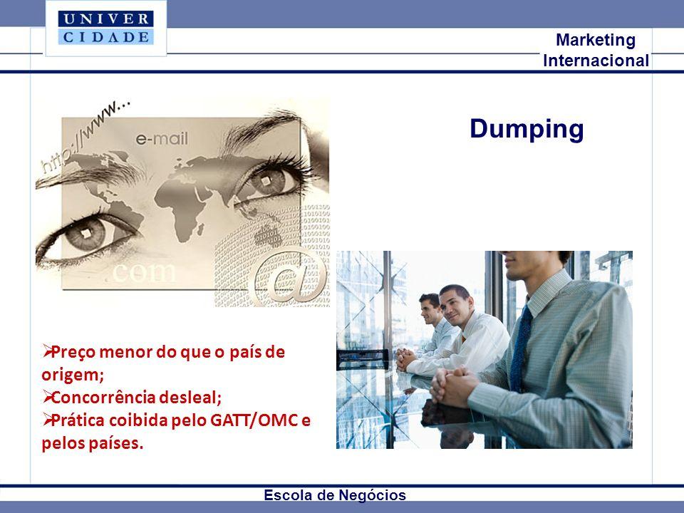Mkt Internacional Marketing Internacional Escola de Negócios Dumping Preço menor do que o país de origem; Concorrência desleal; Prática coibida pelo G