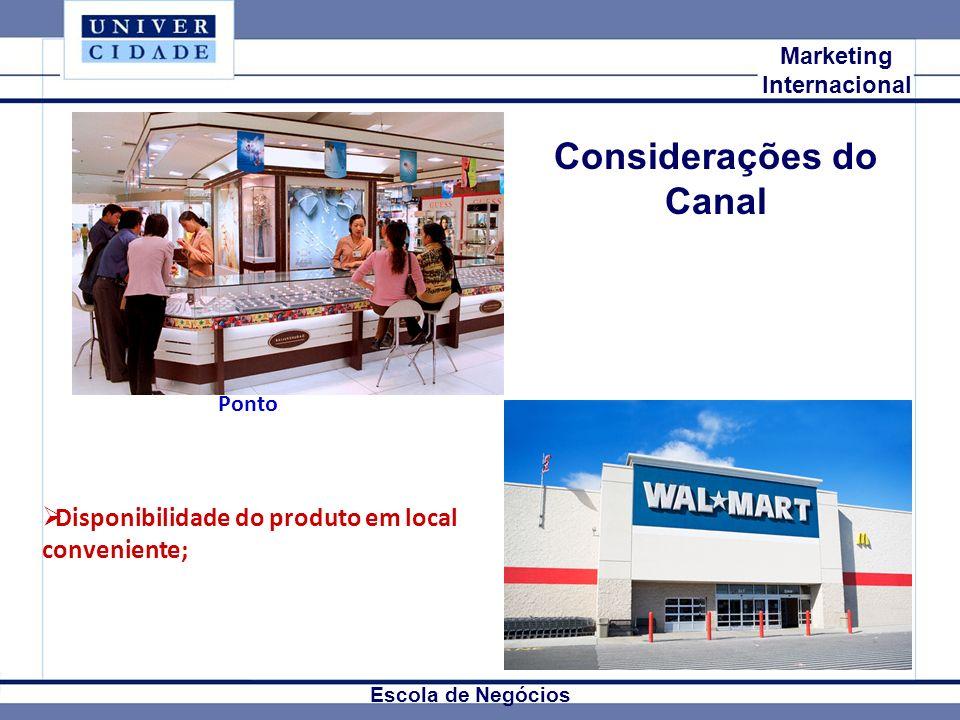 Mkt Internacional Marketing Internacional Escola de Negócios Considerações do Canal Disponibilidade do produto em local conveniente; Ponto