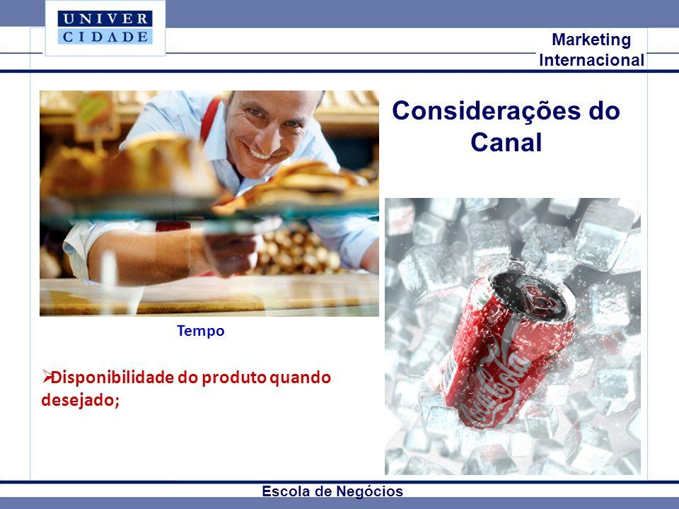 Mkt Internacional Marketing Internacional Escola de Negócios Considerações do Canal Disponibilidade do produto quando desejado; Tempo