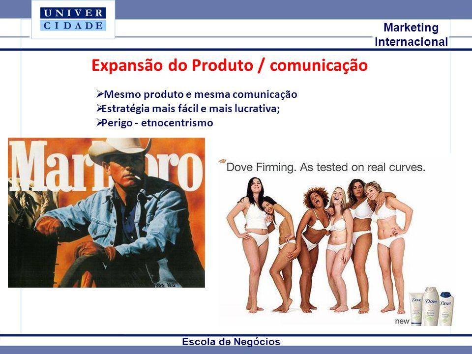 Mkt Internacional Marketing Internacional Escola de Negócios Expansão do Produto / comunicação Mesmo produto e mesma comunicação Estratégia mais fácil