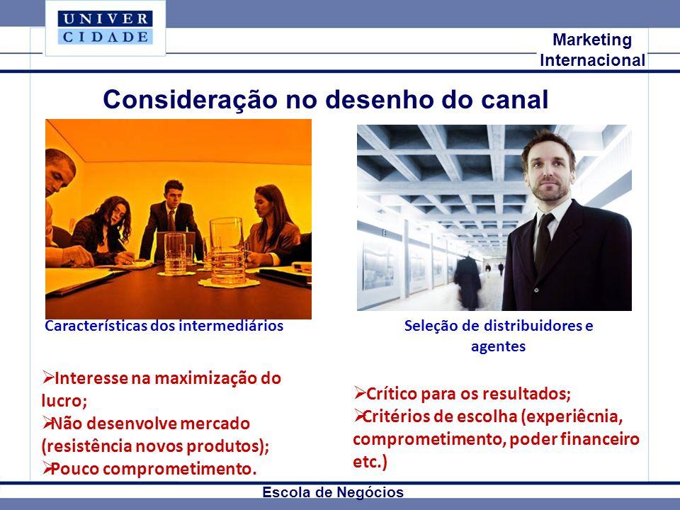 Mkt Internacional Marketing Internacional Escola de Negócios Consideração no desenho do canal Interesse na maximização do lucro; Não desenvolve mercad