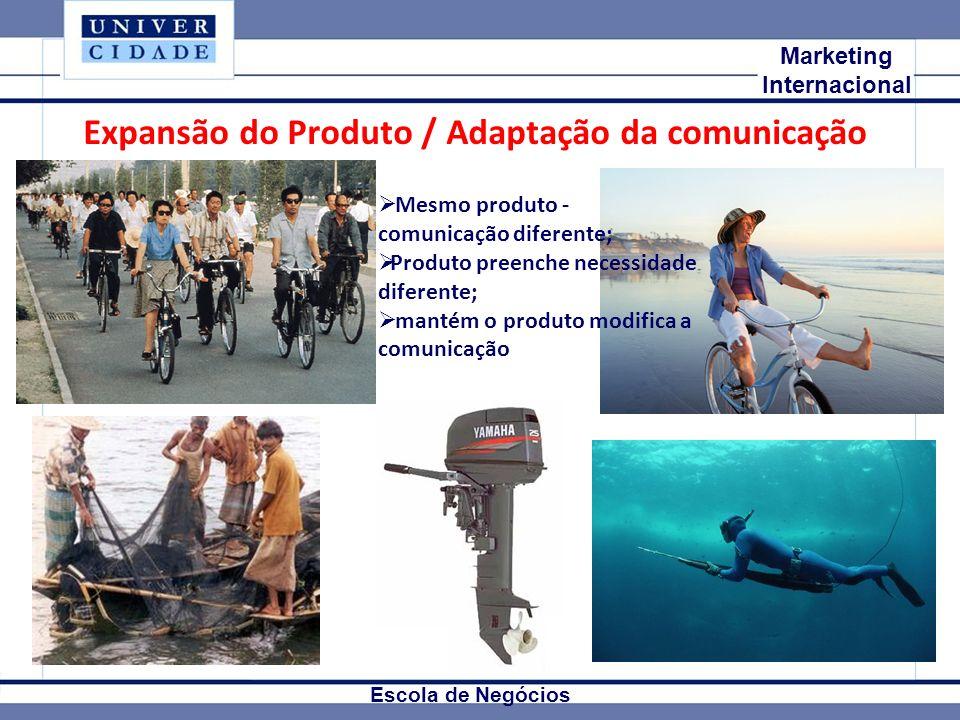 Mkt Internacional Marketing Internacional Escola de Negócios Expansão do Produto / Adaptação da comunicação Mesmo produto - comunicação diferente; Pro