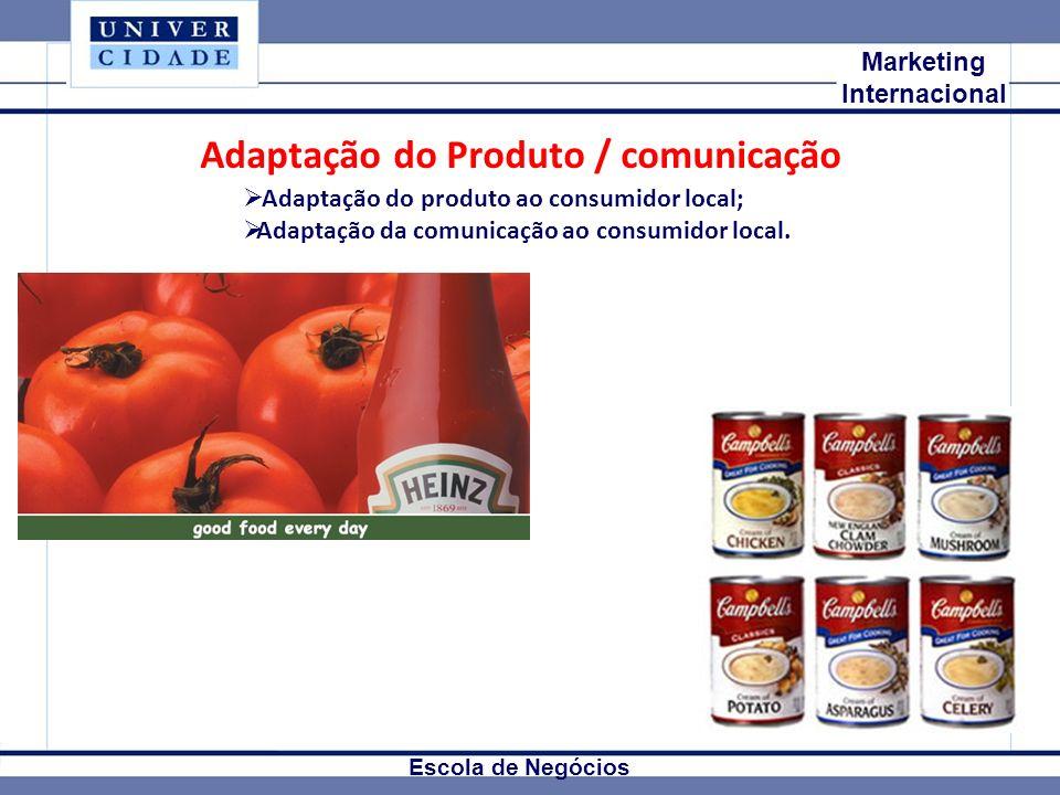 Mkt Internacional Marketing Internacional Escola de Negócios Adaptação do Produto / comunicação Adaptação do produto ao consumidor local; Adaptação da