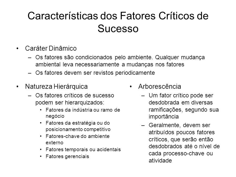 Características dos Fatores Críticos de Sucesso Natureza Hierárquica –Os fatores críticos de sucesso podem ser hierarquizados: Fatores da indústria ou