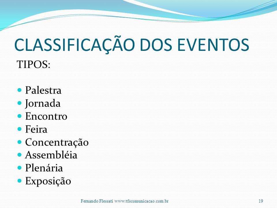 CLASSIFICAÇÃO DOS EVENTOS TIPOS: Palestra Jornada Encontro Feira Concentração Assembléia Plenária Exposição 19Fernando Flessati www.tfscomunicacao.com.br