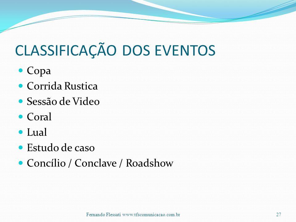 CLASSIFICAÇÃO DOS EVENTOS Copa Corrida Rustica Sessão de Video Coral Lual Estudo de caso Concílio / Conclave / Roadshow 27Fernando Flessati www.tfscomunicacao.com.br