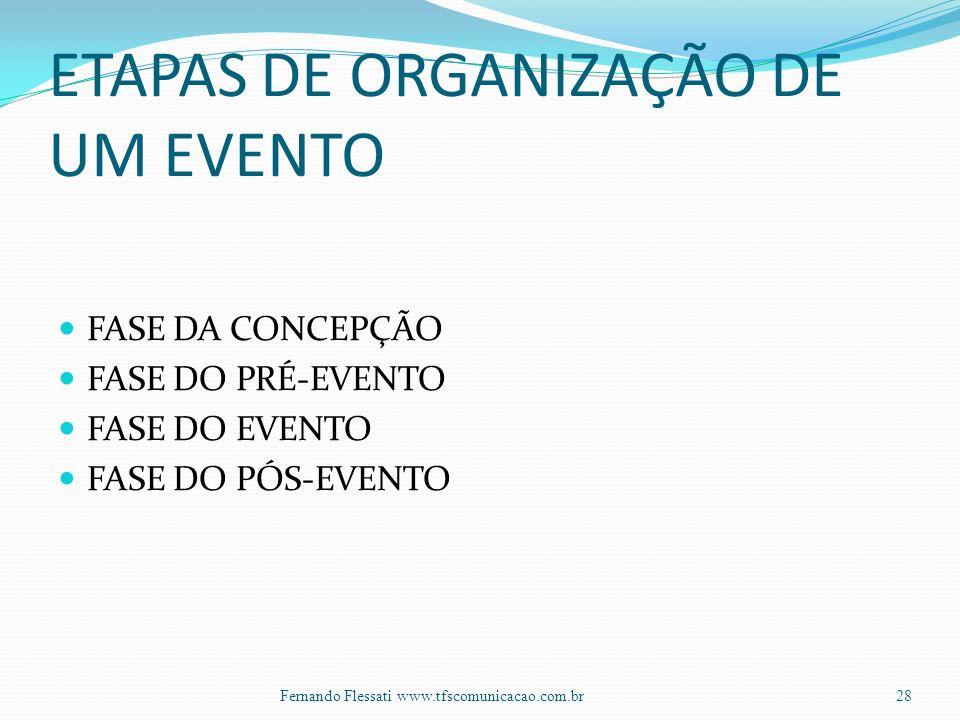 ETAPAS DE ORGANIZAÇÃO DE UM EVENTO FASE DA CONCEPÇÃO FASE DO PRÉ-EVENTO FASE DO EVENTO FASE DO PÓS-EVENTO 28Fernando Flessati www.tfscomunicacao.com.br