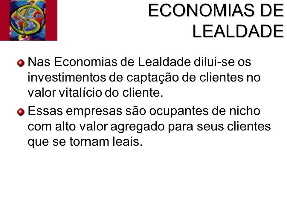 ECONOMIAS DE LEALDADE Nas Economias de Lealdade dilui-se os investimentos de captação de clientes no valor vitalício do cliente. Essas empresas são oc