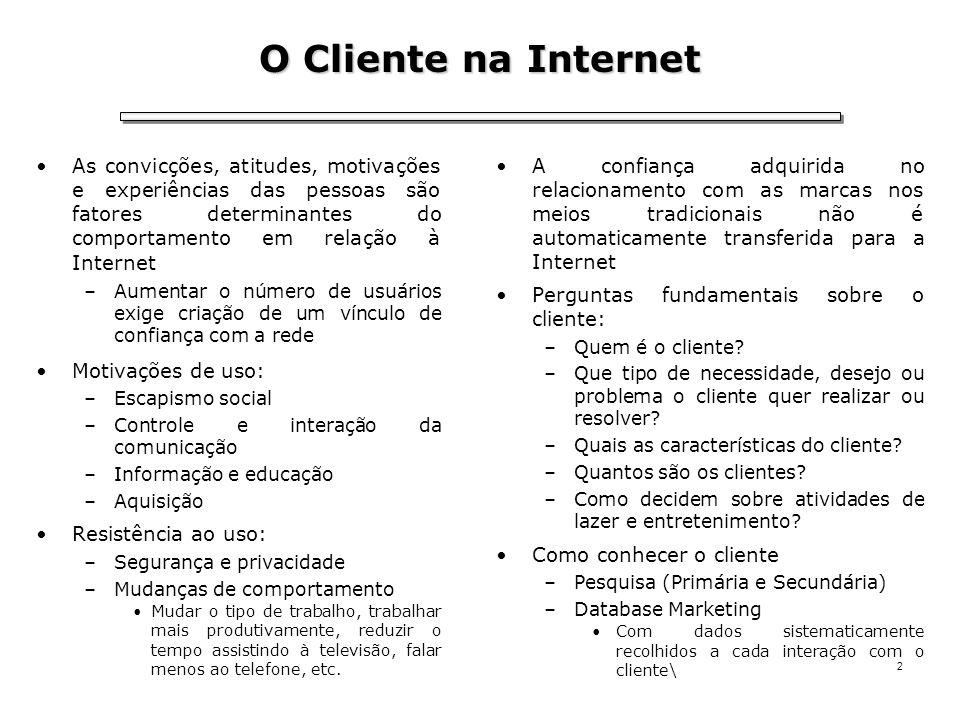 2 O Cliente na Internet As convicções, atitudes, motivações e experiências das pessoas são fatores determinantes do comportamento em relação à Interne