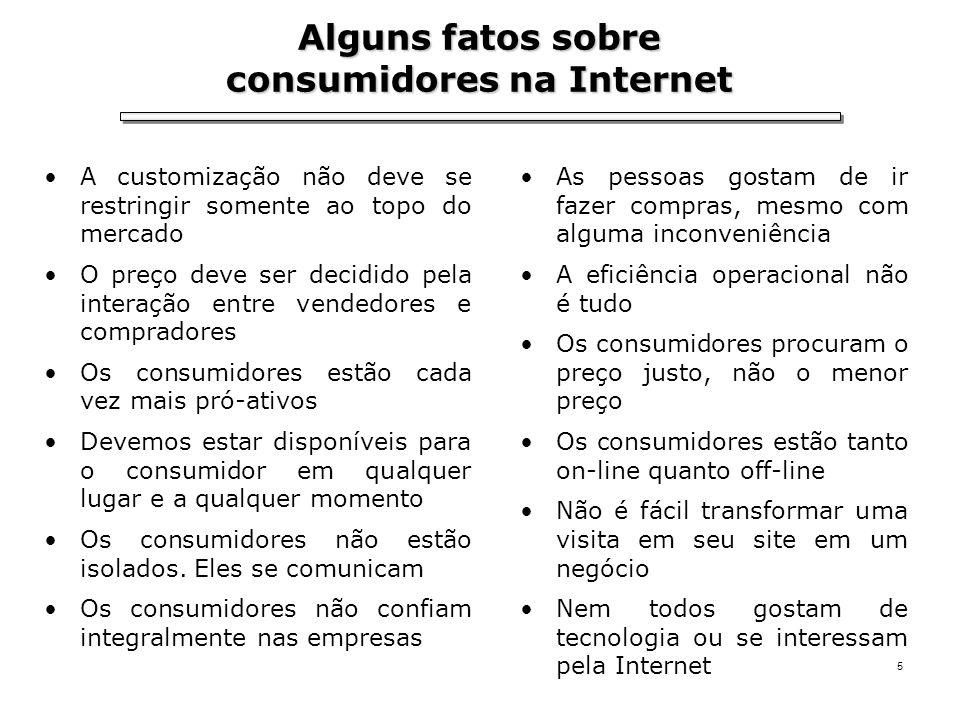 5 Alguns fatos sobre consumidores na Internet A customização não deve se restringir somente ao topo do mercado O preço deve ser decidido pela interaçã