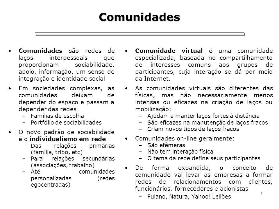 7 Comunidades Comunidades são redes de laços interpessoais que proporcionam sociabilidade, apoio, informação, um senso de integração e identidade soci