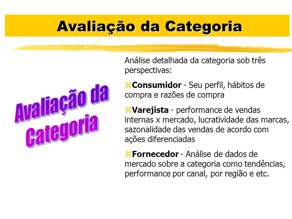 Avaliação da Categoria Avaliação da Categoria Análise detalhada da categoria sob três perspectivas: zConsumidor - Seu perfil, hábitos de compra e razõ