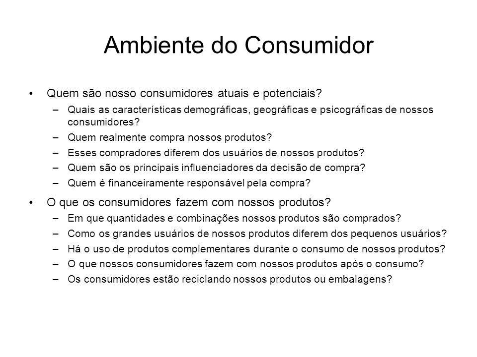 Ambiente do Consumidor Quem são nosso consumidores atuais e potenciais? –Quais as características demográficas, geográficas e psicográficas de nossos