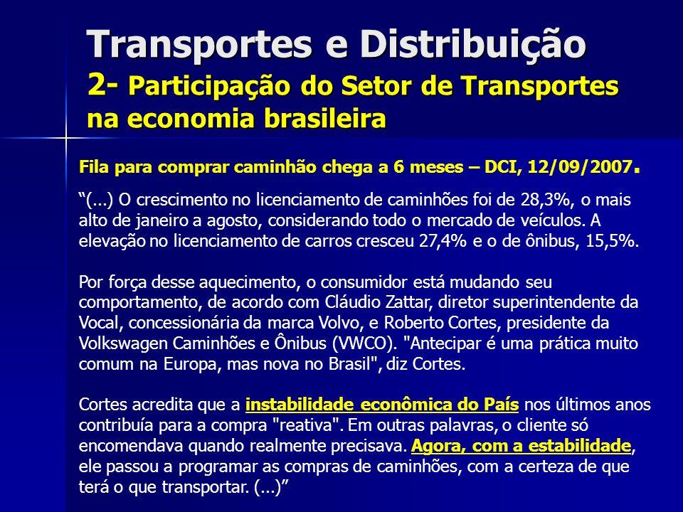 Transportes e Distribuição 2- Participação do Setor de Transportes na economia brasileira Fila para comprar caminhão chega a 6 meses – DCI, 12/09/2007.