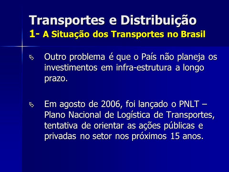 Transportes e Distribuição 1- A Situação dos Transportes no Brasil Outro problema é que o País não planeja os investimentos em infra-estrutura a longo prazo.