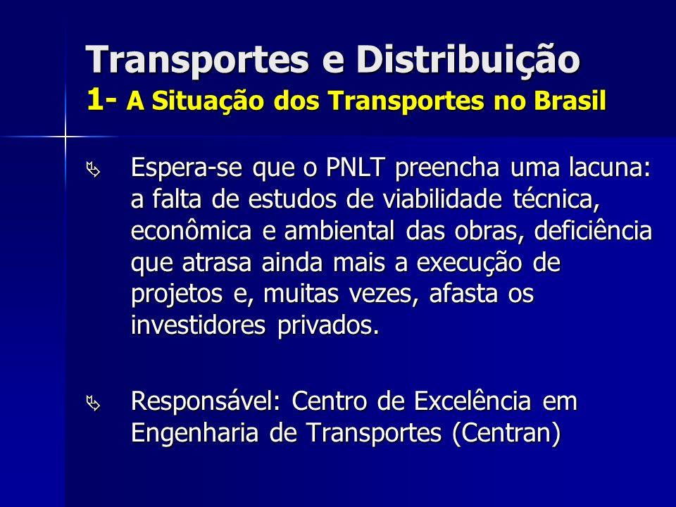 Transportes e Distribuição 1- A Situação dos Transportes no Brasil Espera-se que o PNLT preencha uma lacuna: a falta de estudos de viabilidade técnica, econômica e ambiental das obras, deficiência que atrasa ainda mais a execução de projetos e, muitas vezes, afasta os investidores privados.