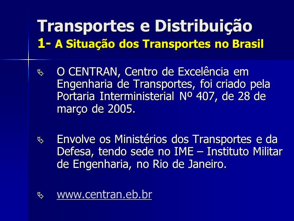 Transportes e Distribuição 1- A Situação dos Transportes no Brasil O CENTRAN, Centro de Excelência em Engenharia de Transportes, foi criado pela Portaria Interministerial Nº 407, de 28 de março de 2005.