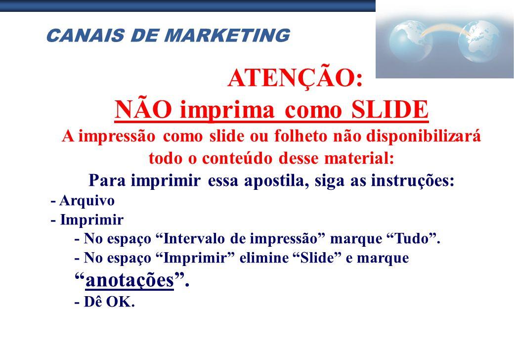 CANAIS DE MARKETING ATENÇÃO: NÃO imprima como SLIDE A impressão como slide ou folheto não disponibilizará todo o conteúdo desse material: Para imprimi