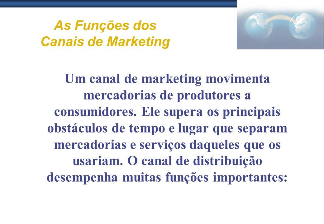 As Funções dos Canais de Marketing Um canal de marketing movimenta mercadorias de produtores a consumidores. Ele supera os principais obstáculos de te