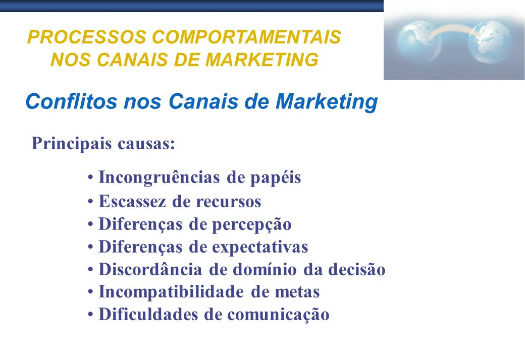 PROCESSOS COMPORTAMENTAIS NOS CANAIS DE MARKETING Conflitos nos Canais de Marketing Principais causas: Incongruências de papéis Escassez de recursos D