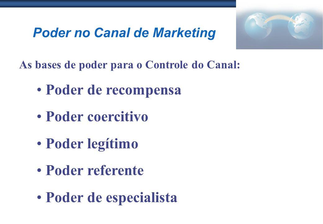 Poder no Canal de Marketing As bases de poder para o Controle do Canal: Poder de recompensa Poder coercitivo Poder legítimo Poder referente Poder de e