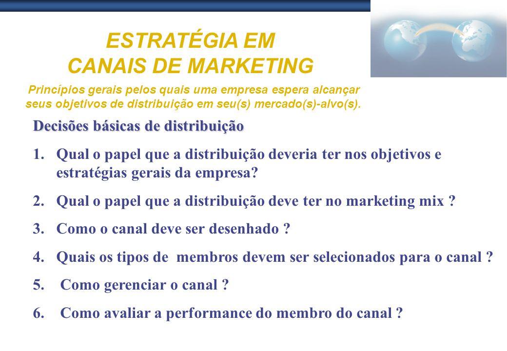 ESTRATÉGIA EM CANAIS DE MARKETING Princípios gerais pelos quais uma empresa espera alcançar seus objetivos de distribuição em seu(s) mercado(s)-alvo(s