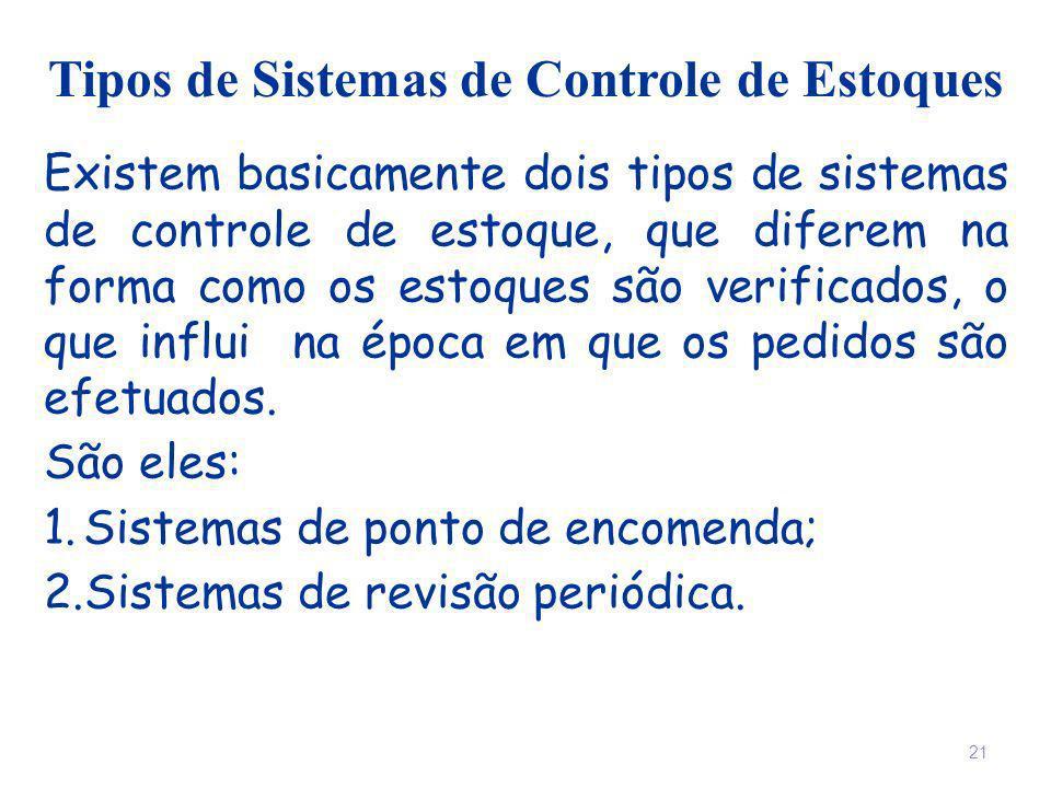 Tipos de Sistemas de Controle de Estoques Existem basicamente dois tipos de sistemas de controle de estoque, que diferem na forma como os estoques são