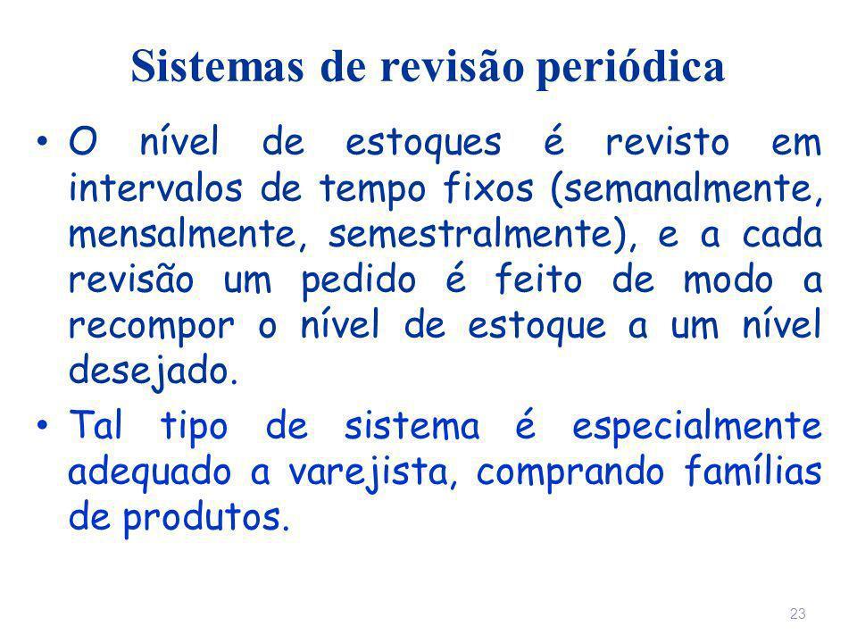 Sistemas de revisão periódica O nível de estoques é revisto em intervalos de tempo fixos (semanalmente, mensalmente, semestralmente), e a cada revisão