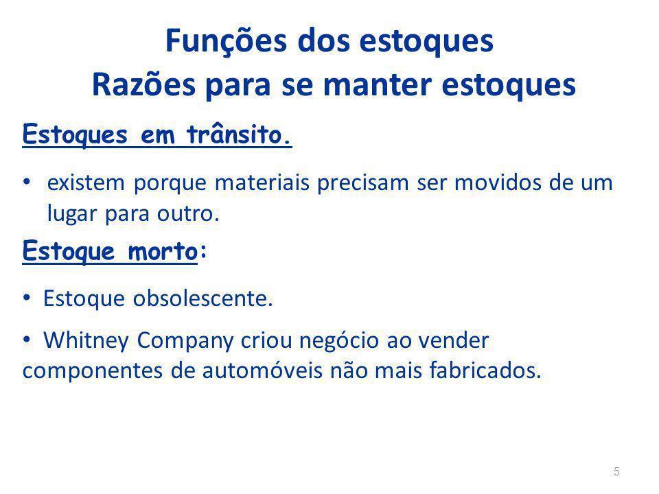 Funções dos estoques Razões para se manter estoques Estoques em trânsito. existem porque materiais precisam ser movidos de um lugar para outro. Estoqu
