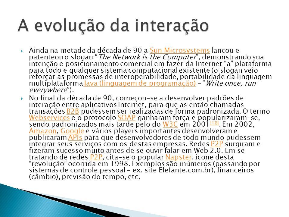 Ainda na metade da década de 90 a Sun Microsystems lançou e patenteou o slogan The Network is the Computer, demonstrando sua intenção e posicionamento