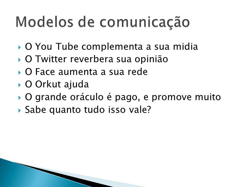 O You Tube complementa a sua midia O Twitter reverbera sua opinião O Face aumenta a sua rede O Orkut ajuda O grande oráculo é pago, e promove muito Sa