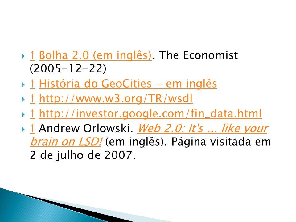 Bolha 2.0 (em inglês). The Economist (2005-12-22) Bolha 2.0 (em inglês) História do GeoCities - em inglês História do GeoCities - em inglês http://www