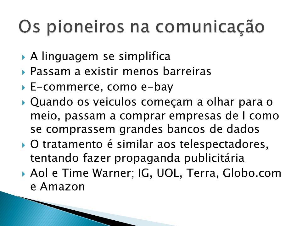 A linha geral é standard, connectivity, presentation, programmability Teconologia evolui TCP/IP, Html, Xml Inovação acontece Ftp, Email, Web pages e services, Browse web, Program Internet