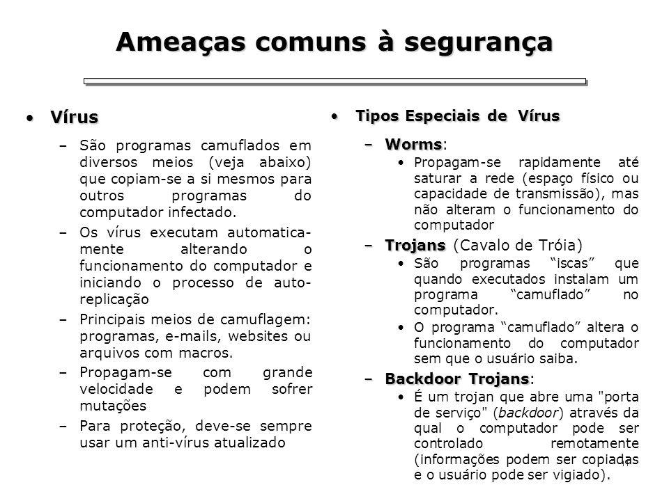 11 Ameaças comuns à segurança VírusVírus –São programas camuflados em diversos meios (veja abaixo) que copiam-se a si mesmos para outros programas do