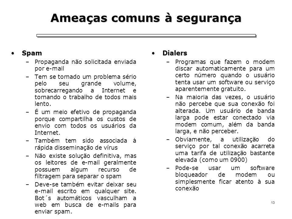 13 Ameaças comuns à segurança SpamSpam –Propaganda não solicitada enviada por e-mail –Tem se tornado um problema sério pelo seu grande volume, sobreca